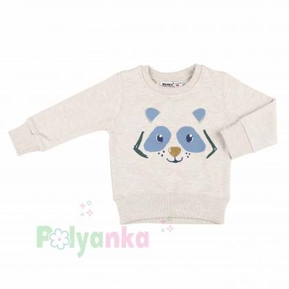 Wanex Костюм для мальчика бежевый свитшот с мишкой и синие штаны - Картинка 9