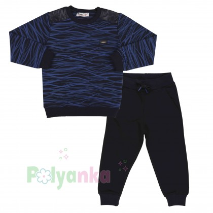 Wanex Спортивный костюм для мальчика черно-синий в полоску свитшот и черные штаны - Картинка 1