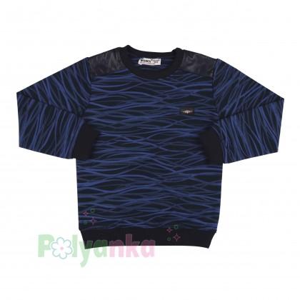 Wanex Спортивный костюм для мальчика черно-синий в полоску свитшот и черные штаны - Картинка 2