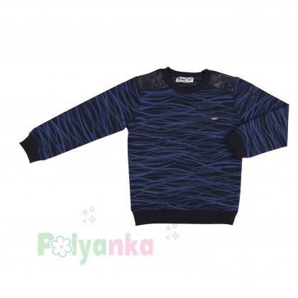Wanex Спортивный костюм для мальчика черно-синий в полоску свитшот и черные штаны - Картинка 3