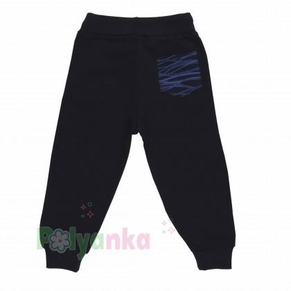 Wanex Спортивный костюм для мальчика черно-синий в полоску свитшот и черные штаны - Картинка 6