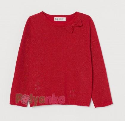 H&M Футболка с длинным рукавом для девочки красная с бантиком - Картинка 1
