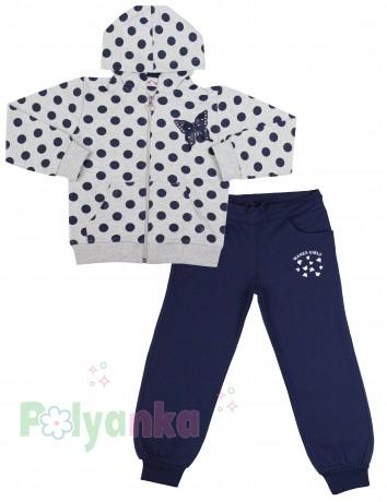 Wanex Спортивный костюм для девочки серая олимпийка в синий горох и синие спортивные штаны - Картинка 1