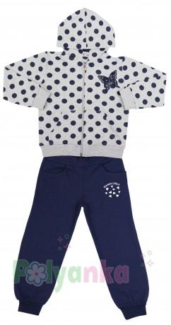Wanex Спортивный костюм для девочки серая олимпийка в синий горох и синие спортивные штаны - Картинка 2