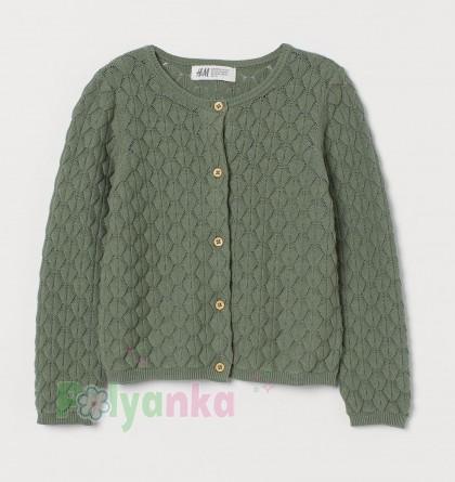 H&M Кофта для девочки зелёная с вязаными узорами - Картинка 1