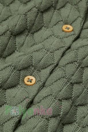 H&M Кофта для девочки зелёная с вязаными узорами - Картинка 2