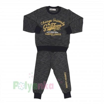 Wanex Спортивный костюм для мальчика серо-черный свитшот и штаны - Картинка 7