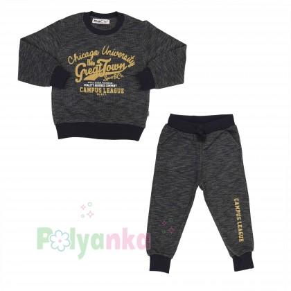 Wanex Спортивный костюм для мальчика серо-черный свитшот и штаны - Картинка 11