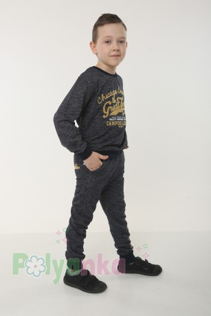 Wanex Спортивный костюм для мальчика серо-черный свитшот и штаны - Картинка 2