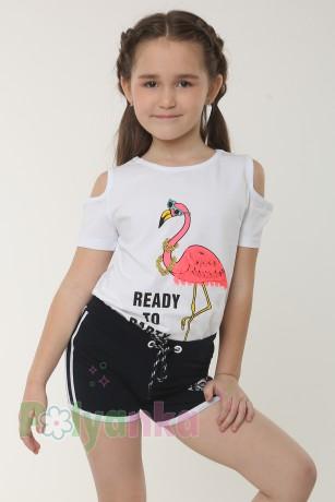 """Wanex Футболка для девочки белая """"Розовый фламинго""""  - Картинка 1"""