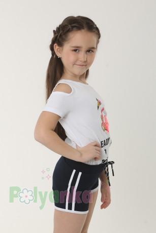 """Wanex Футболка для девочки белая """"Розовый фламинго""""  - Картинка 2"""