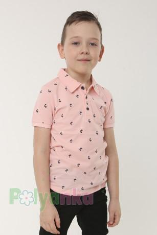 Wanex Футболка поло для мальчика розовая с мелким принтом в виде пальм - Картинка 1