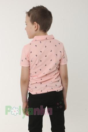 Wanex Футболка поло для мальчика розовая с мелким принтом в виде пальм - Картинка 2