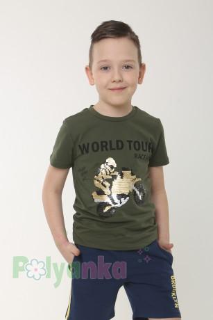 Wanex Футболка для мальчика темно-зелёная с пайетками-перевёртышами - Картинка 1