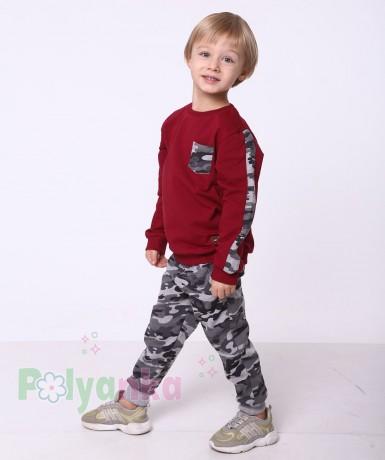 """Wanex Спортивный костюм для мальчика с начёсом """"Милитари"""" бордово-серый - Картинка 1"""