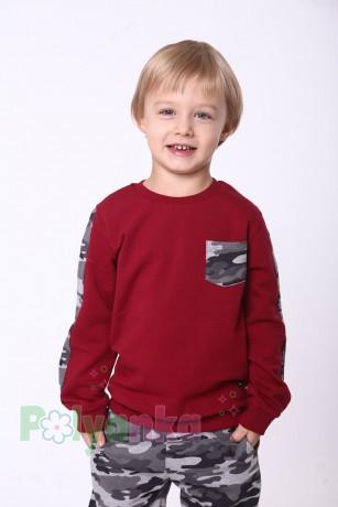 """Wanex Спортивный костюм для мальчика с начёсом """"Милитари"""" бордово-серый - Картинка 2"""