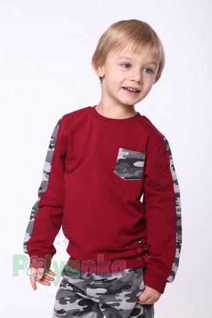 """Wanex Спортивный костюм для мальчика с начёсом """"Милитари"""" бордово-серый - Картинка 3"""