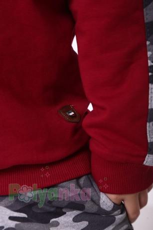 """Wanex Спортивный костюм для мальчика с начёсом """"Милитари"""" бордово-серый - Картинка 5"""