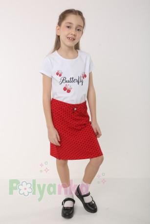 """Wanex Комплект детский """"Love"""" красная юбка в черный горох и белая футболка со стразами - Картинка 1"""