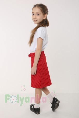 """Wanex Комплект детский """"Love"""" красная юбка в черный горох и белая футболка со стразами - Картинка 2"""
