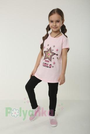 Wanex Комплект детский розовая футболка со звездой и черные леггинсы - Картинка 1