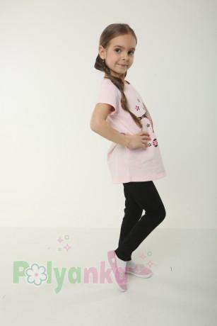 Wanex Комплект детский розовая футболка со звездой и черные леггинсы - Картинка 2