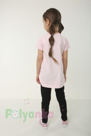 Wanex Комплект детский розовая футболка со звездой и черные леггинсы - Картинка 3