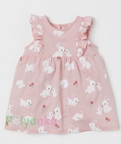 H&M Летнее платье для малышки розовое с кроликами - Картинка 1