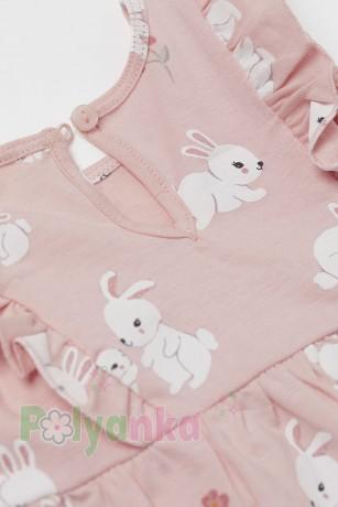 H&M Летнее платье для малышки розовое с кроликами - Картинка 2