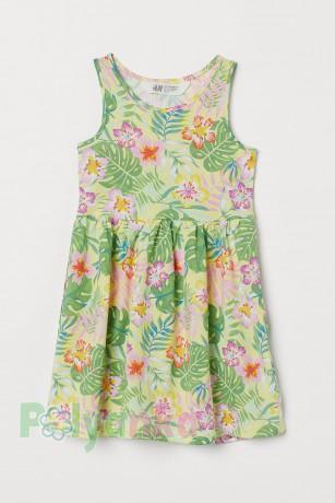 H&M Сарафан для девочки жёлтый с листьями и цветами - Картинка 1