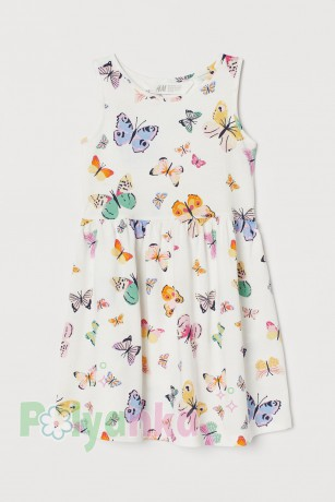 "H&M Сарафан для девочки ""Бабочки"" белый (0268) - Картинка 1"
