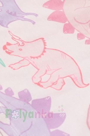 H&M Футболка для девочки розовая с разноцветными динозаврами - Картинка 2