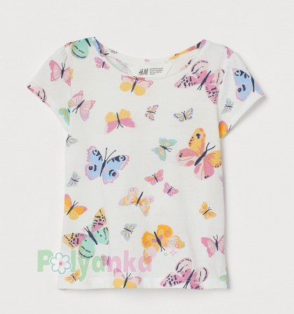 H&M Футболка для девочки белая с бабочками - Картинка 1