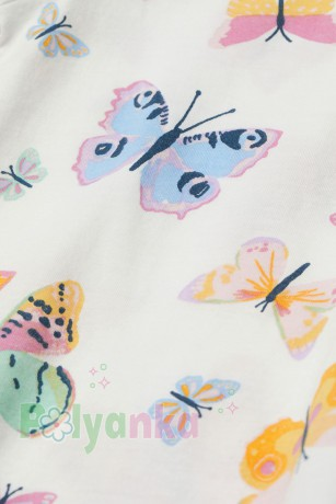H&M Футболка для девочки белая с бабочками - Картинка 2