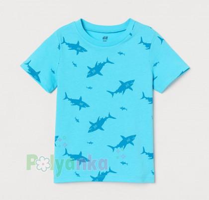 H&M Футболка для мальчика голубая с акулами (0718076048) - Картинка 1