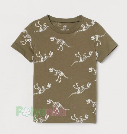 H&M Футболка для мальчика хаки скелеты динозавров - Картинка 1