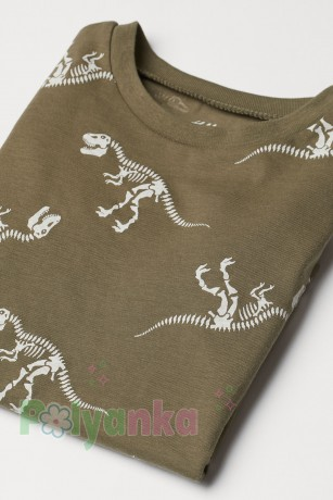 H&M Футболка для мальчика хаки скелеты динозавров - Картинка 2