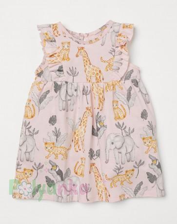 H&M Летнее платье для девочки светло-розовая с животными - Картинка 1