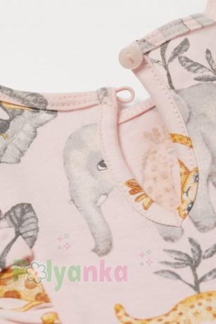 H&M Летнее платье для девочки светло-розовая с животными - Картинка 2