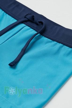 H&M Плавки для мальчика синие с неоновым поясом - Картинка 2