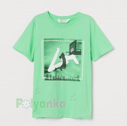 H&M Футболка для мальчика зеленая с принтом - Картинка 1