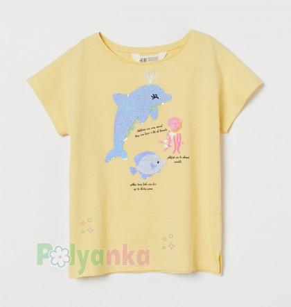 H&M Футболка для девочки желтая с морскими животными - Картинка 1