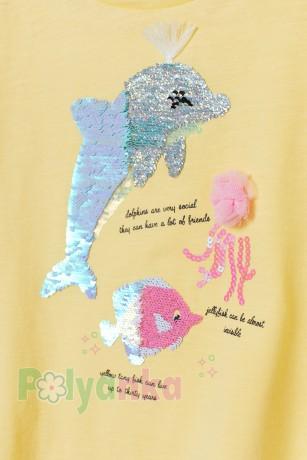 H&M Футболка для девочки желтая с морскими животными - Картинка 2