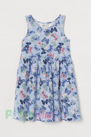 H&M Сарафан для девочки голубой с бабочками - Картинка 1