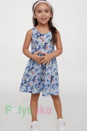 H&M Сарафан для девочки голубой с бабочками - Картинка 3