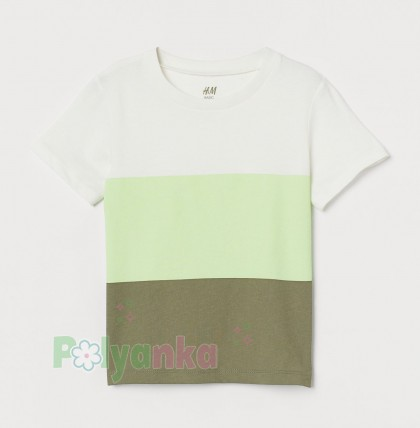 H&M Футболка для мальчика бело-зелёная - Картинка 1