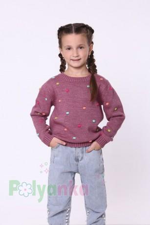 baby first Детский свитер для девочки вязаный бордовый - Картинка 1