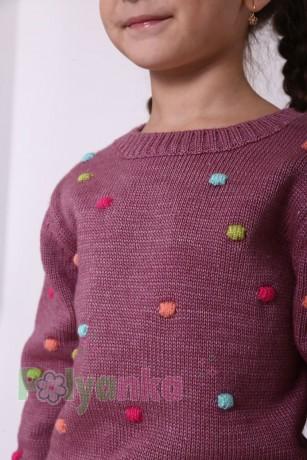 baby first Детский свитер для девочки вязаный бордовый - Картинка 2