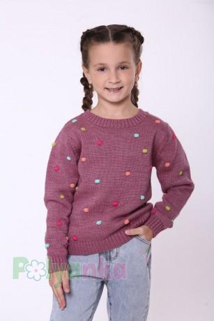 baby first Детский свитер для девочки вязаный бордовый - Картинка 3