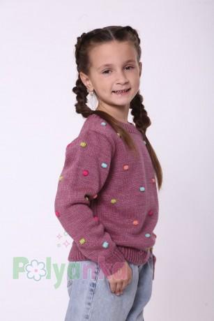 baby first Детский свитер для девочки вязаный бордовый - Картинка 4
